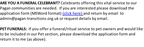 Welcome pagan transitions does not receive any commission or payment for our service and any arrangements with a funeral celebrant listed on this site is a private solutioingenieria Gallery